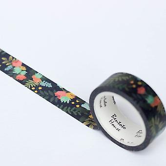 Donkere bloemen decoratieve Washi Tape 7m bloeiende Tape ambachtelijke