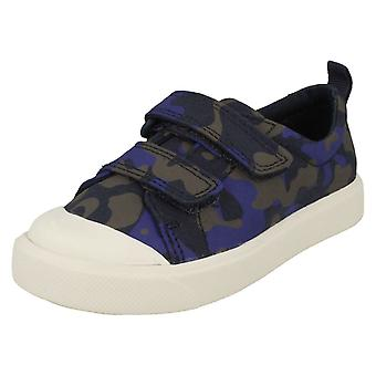 Childrens Boys Girls Clarks Pattern Detailed Canvas Shoes City Flare Lo T