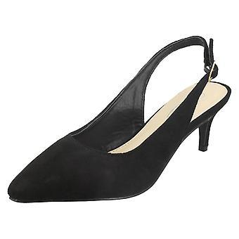 Ladies Spot On Mid Heel Slingback Court Shoes F90056