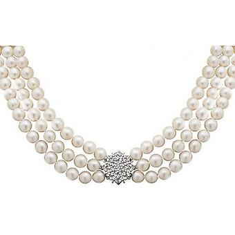 Pearls of the Orient Triple Strand Freshwater Pearl Star Clasp Necklace - White/Silver
