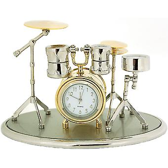 Miniature Novelty Drum Kit Silver & Goldtone Finish Collectors Clock 0470