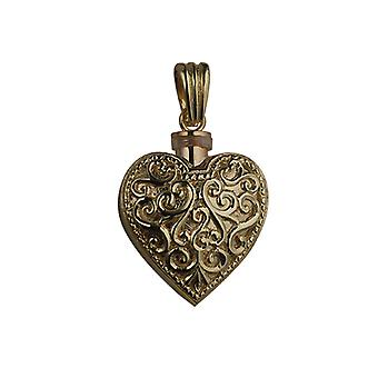 9ct Gold 25x22mm handmade Embossed Heart shaped Memorial Locket