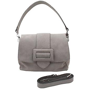 Abro Grey Suede Leather Grab Handbag