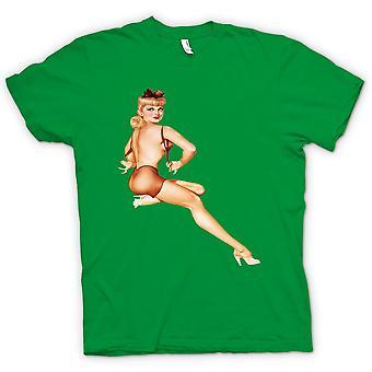 Mens-T-shirt - BH auf - Vintage Pinup