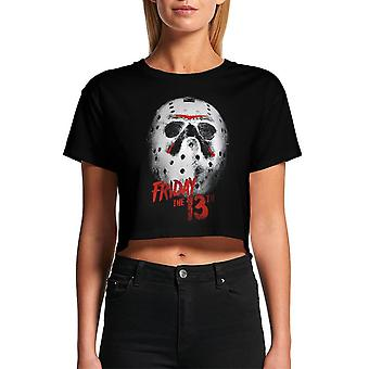 Women's Friday the 13th White Mask Cropped Black T-Shirt