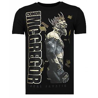 Berüchtigte King-Conor McGregor McGregor Strass T-shirt-Schwarz