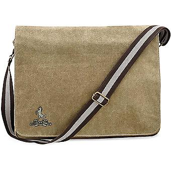 Queens Own Buffs - Licensed British Army Embroidered Vintage Canvas Despatch Messenger Bag