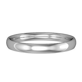 Jewelco لندن 9ct الذهب الأبيض - 2.5mm الأساسية ضوء المحكمة على شكل التزام الفرقة / خاتم الزفاف