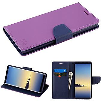 MYBAT Purple Pattern/Dark Blue Liner MyJacket wallet (with card slot)(84C) for Galaxy Note 8