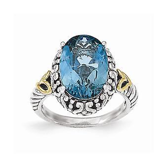 925 sterling silver med 14K gul London blå Topaz oval ring