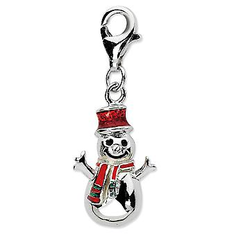 925 Sterling Silver Rhodium plated Fancy Lobster Closure Enamel Snowman With Lobster Clasp Charm Pendant Necklace Measur