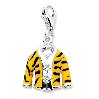 925 Sterling Silver Rhodium plated Fancy Lobster Closure Click on CZ Cubic Zirconia Simulated Diamond Enamel Tiger Jacke