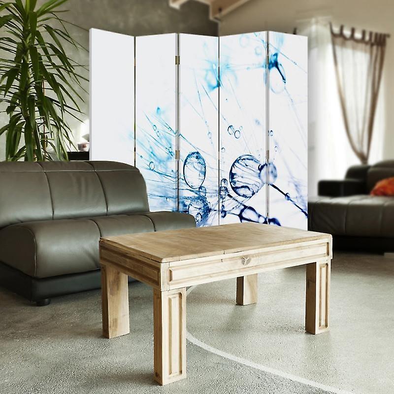 Diviseur de chambre, 5 panneaux, double-sided, Rotatable 360, toile, gouttes d'eau sur Dmuchawcu 1