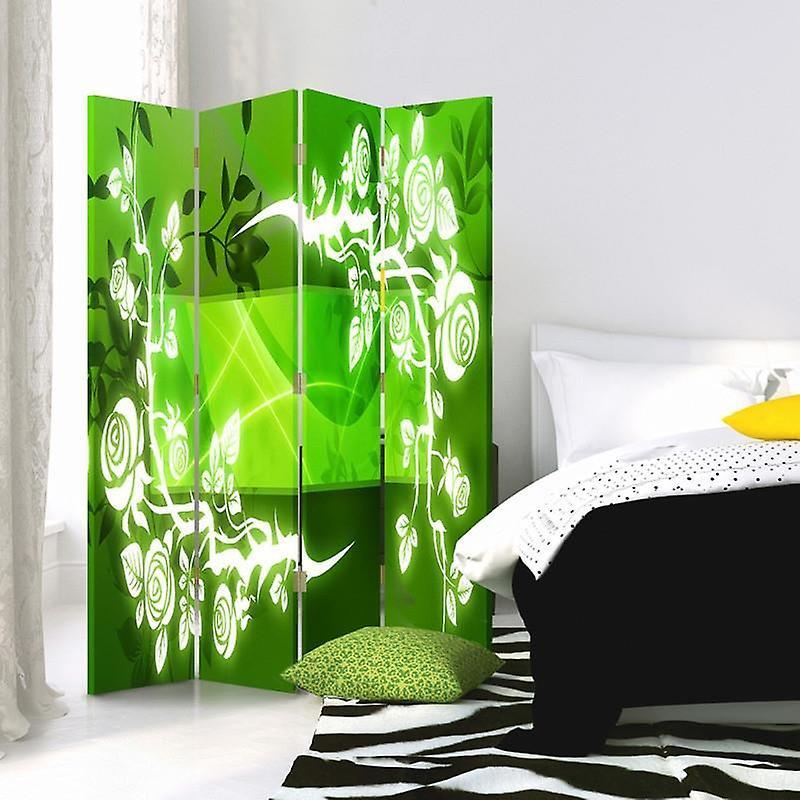 Diviseur de chambre, 4 panneaux, toile, roses - Abstraction