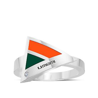 University Of Miami Engraved Sterling Silver Diamond Geometric Ring In Orange and Green