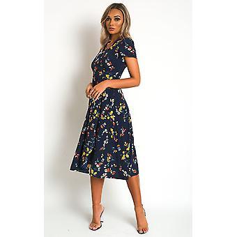 IKRUSH Womens Thena Polka Dot Floral Chiffon Dress