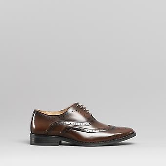 Goor Henry Boys Smart Oxford Brogue Buty Brown
