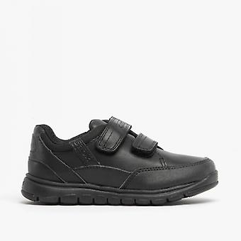 GEOX Jr Xunday B Boys Leather Touch Fasten Shoes Black