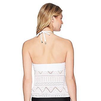 Anne Cole Women's High Neck Crochet Tankini Swim Top, White, XL