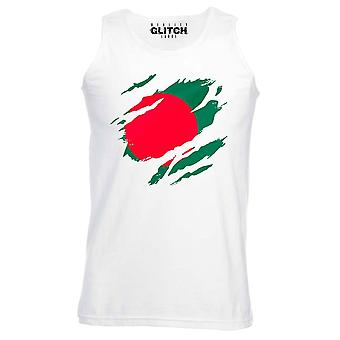 Reality glitch torn bangladesh flag mens vest