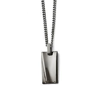 Roestvrij staal gepolijst zwart ip vergulde rechthoek ketting 22 inch sieraden geschenken voor vrouwen