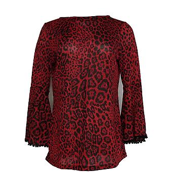 Susan Graver Women's Top Foiled Sweater Knit Tunic Red A344654