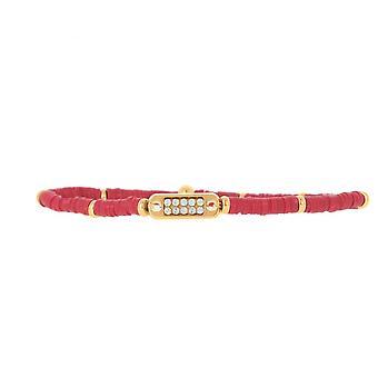 Les austauschbare Armband A58613 - Mini Plaque 2 Rangs Perle Gum Bordeaux Frauen