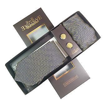 Tie, Cufflink & Hankerchief Set Exlusive Milan Collection 100% Hand Made Black with cream diagonal pattern