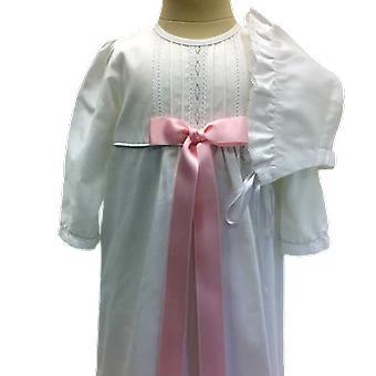ボンネット、ピンクロゼットとコットンで洗礼ドレス - スウェーデンの恵み