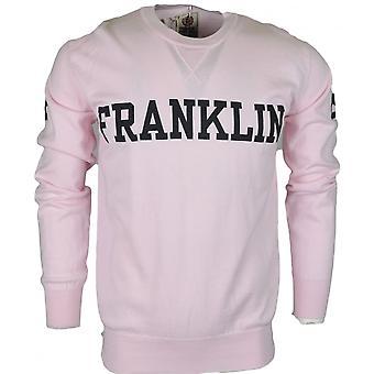 Franklin & Marshall Mf122 Cotton Round Neck Franklin Logo Powder Pink Jumper