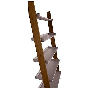 Fusion Living Modern Retro Walnut And Grey Ladder Shelf