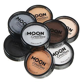 Moon Creations - Pro Face & Body Paint Cake Pots - Essentials Colours Set (Blanco, Gris Claro, Gris Oscuro, Negro, Piel Pálida, Beige, Marrón Claro, Marrón Oscuro)
