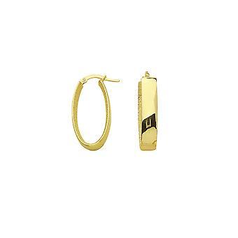 14k Yellow Gold Inner Laser Oval Euro Hoop Oorbellen Sieraden Geschenken voor vrouwen - 2,7 gram