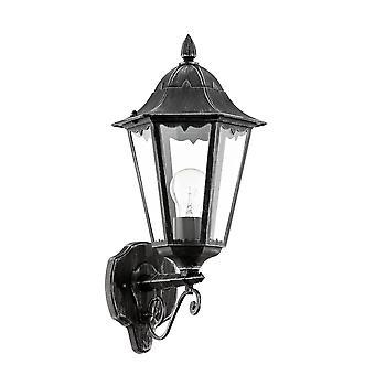 Eglo Navedo - 1 Light Outdoor Wall Lantern Zwart, Zilver-Patina IP44 - EG93457