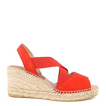 Kanna Ania Red Suede Espadrille Wedge Sandal