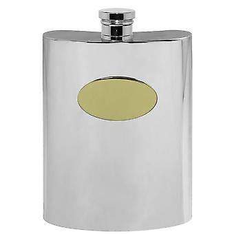 Plain Pewter Hip Flask With Brass Plate - 6oz