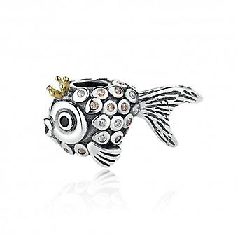Sterling Silver Charm Crown Fish - 5276