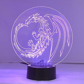 Dragon sirkelen farge skiftende LED akryl lys