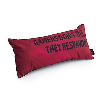 Game Over Gamers Don't Die, They Respawn! Slogan - Rood | Speelkussen | Schuimkruimel gevuld | Waterbestendig | Beddengoed en sofa | Home Decor