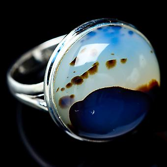 Large Montana Agate Ring Size 11.75 (925 Sterling Silver)  - Handmade Boho Vintage Jewelry RING5934