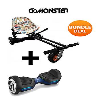 "6.5"" G PRO Blue Bluetooth Hoverboard with Go Monster Hoverkart in Graffiti"