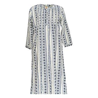 La Cera Women's Gown Flannel Long Sleeve Printed Gown Navy Blue