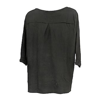Quacker Factory Women's Plus Top Embroidered 3/4 Sleeve Black A369658