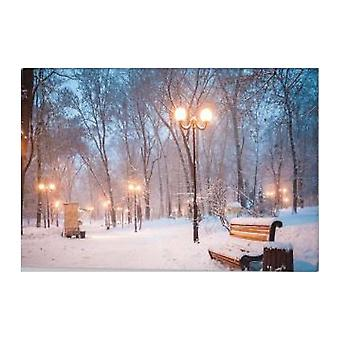 Jandei Picture LED Landscape With Switch (Park, 60 * 40 * 1.8) Snow Park with Illuminated Lanterns By 8 LEDDs 2 AA Batteries