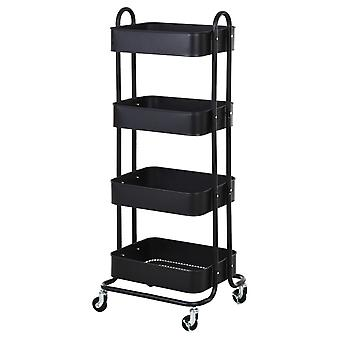 HOMCOM Metal 4-Tier Storage Utility Cart Mobile Serving Trolly Rolling Kitchen Organiser Mesh Bottom Tray Black
