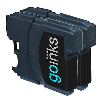 2 mustaa mustekasettia Brother LC980Bk & LC1100Bk Compatible/non-OEM by Go Inks -tilalle