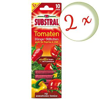 Sparset: 2 x SUBSTRAL® fertilizer chopsticks for tomatoes, 10 pieces