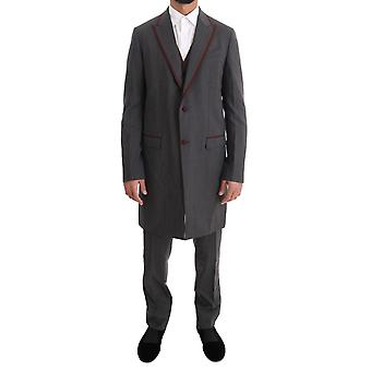 Dolce & Gabbana Gray Wool Stretch 3 Stuk Two Button Pak