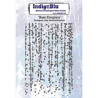 "IndigoBlu Cling Mounted Stamp 5""x4""-Rain Droplets"