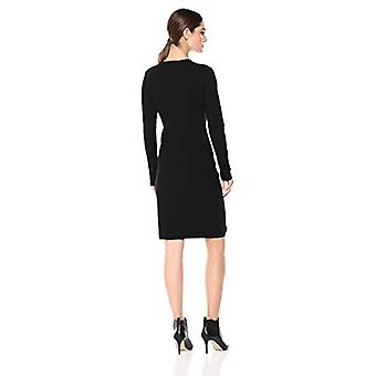 Brand - Lark & Ro Women's Long Sleeve Faux Wrap Sheath Sweater Dress, Black, Small